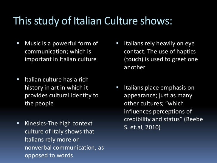 Culture And Nonverbal Communication In Italy