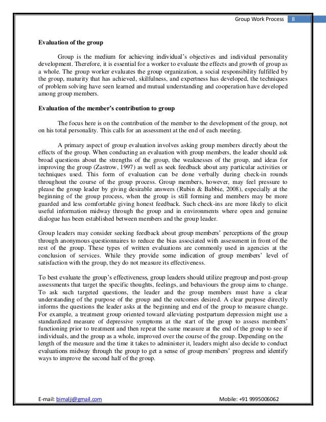Reflective essay on group work