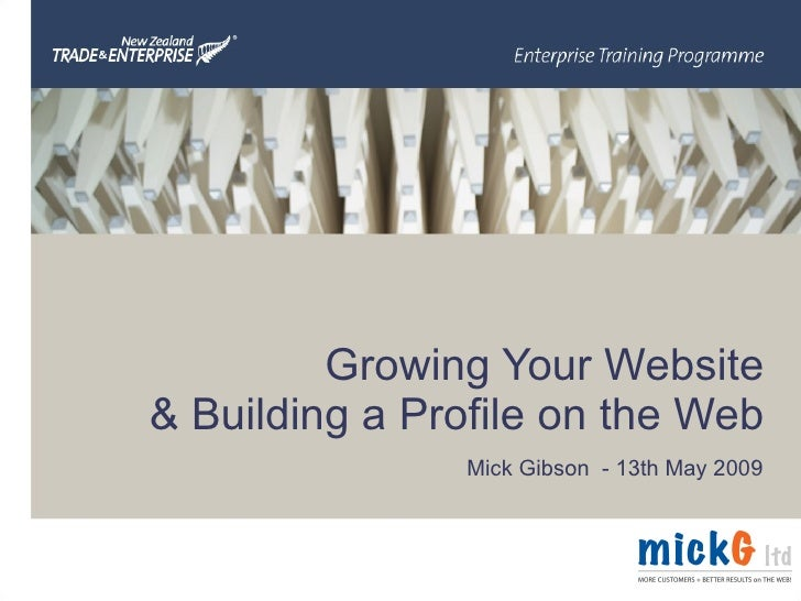 Growing Your Website & Building a Profile on the Web Mick Gibson  - 13th May 2009
