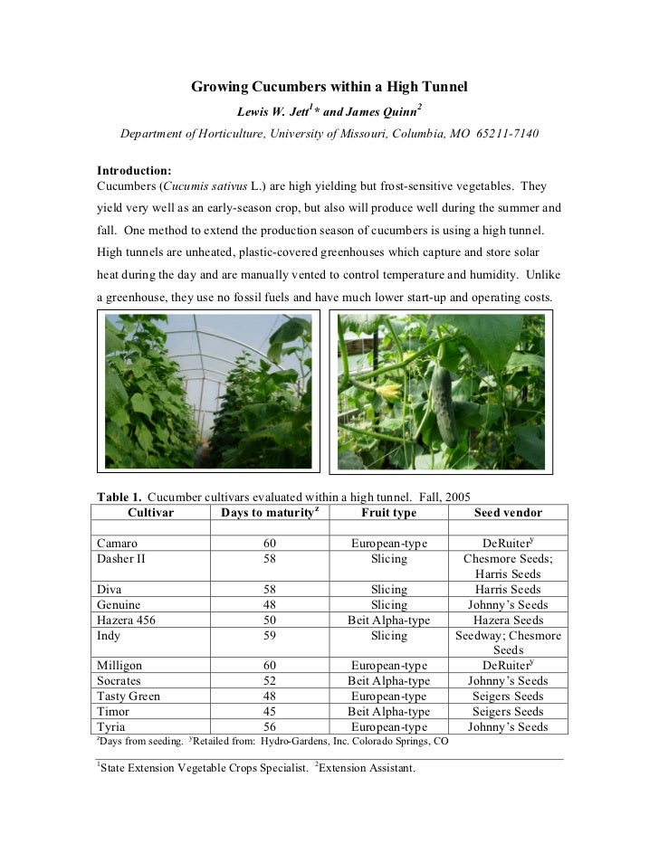 Growing Cucumbers within a High Tunnel                                 Lewis W. Jett1* and James Quinn2        Department ...