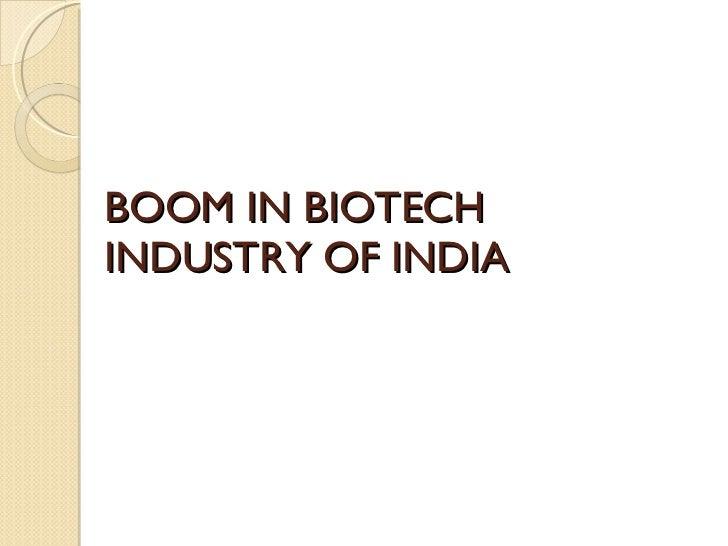 Growing indian biotech industry