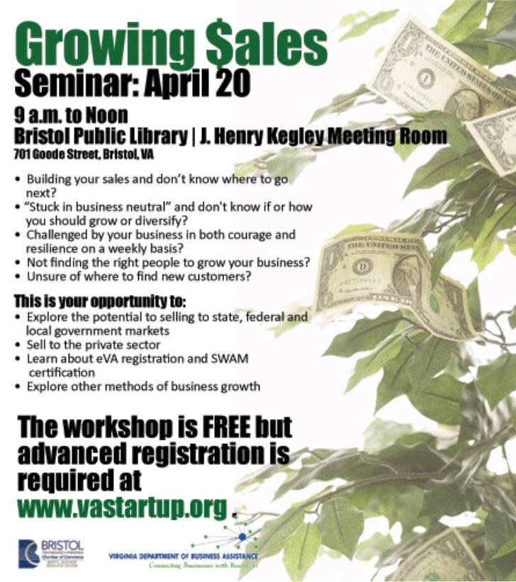Growing Sales Workshop, Bristol, April 20, 2011