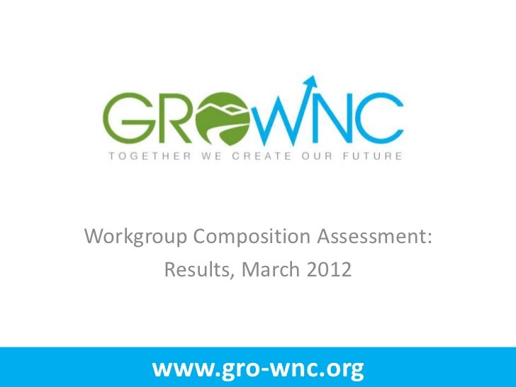 Workgroup Composition Assessment:       Results, March 2012      www.gro-wnc.org