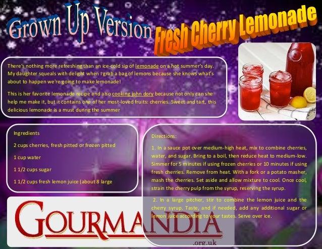 Grown Up Version Fresh Cherry Lemonade