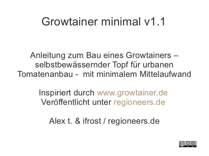 Growtainer minimal v1.1   Anleitung zum Bau eines Growtainers –    selbstbewässernder Topf für urbanenTomatenanbau - mit m...