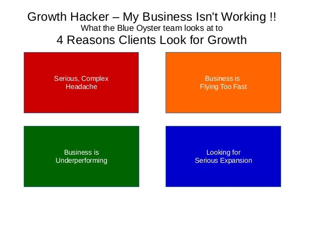Growth Hacker – My Business Isn't Working !! What the Blue Oyster team looks at to 4 Reasons Clients Look for Growth Serio...