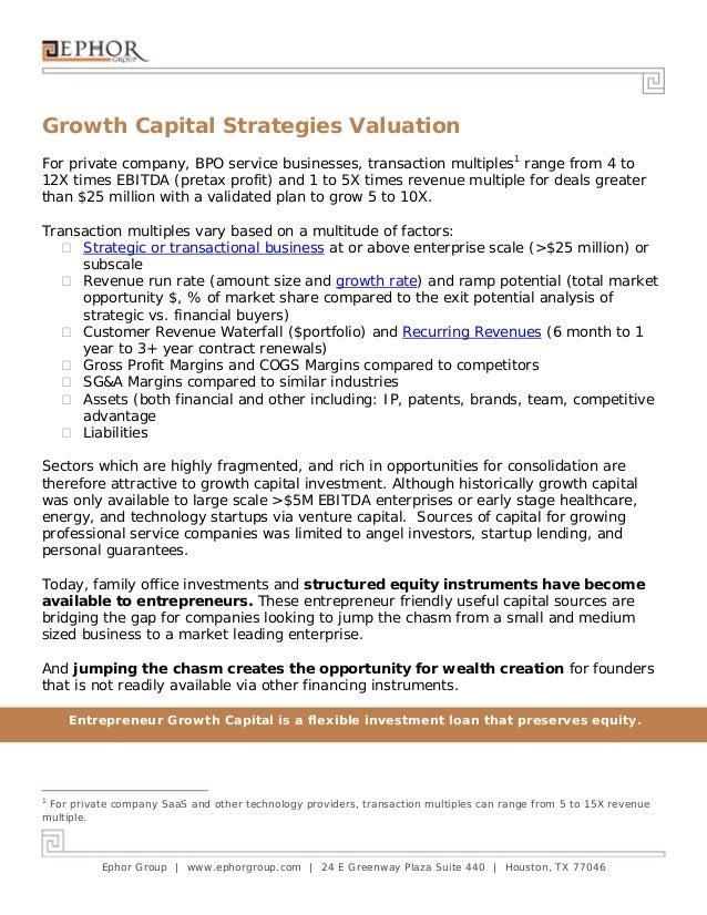 Ephor Group | www.ephorgroup.com | 24 E Greenway Plaza Suite 440 | Houston, TX 77046 Growth Capital Strategies Valuation F...