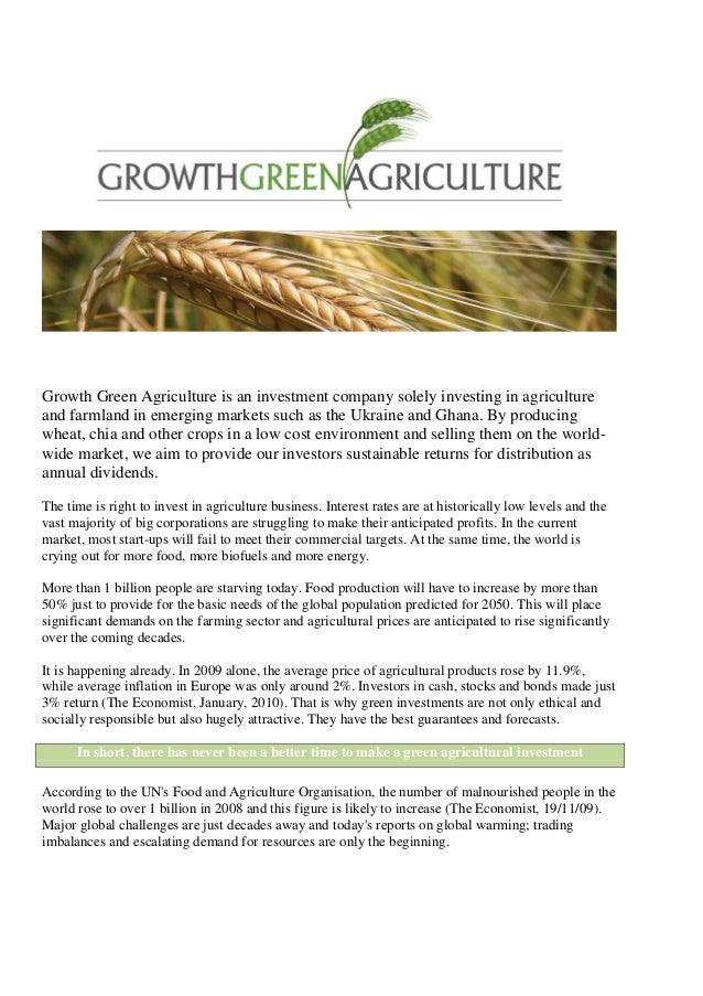 Growth Green Agriculture is an investment company solely investing in agricultureand farmland in emerging markets such as ...