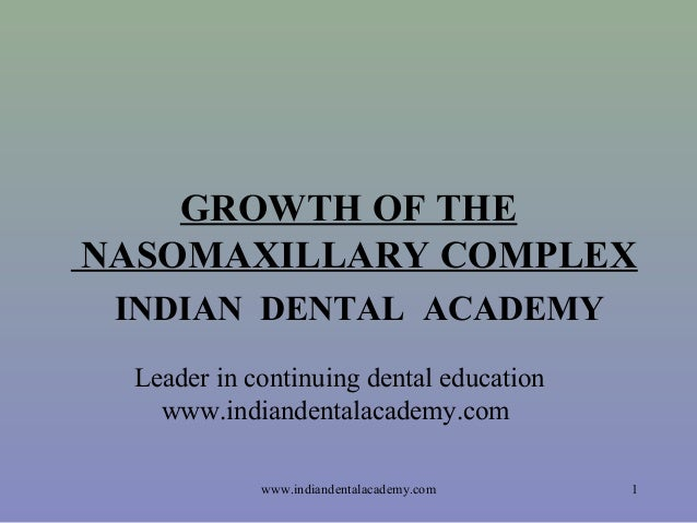 GROWTH OF THE NASOMAXILLARY COMPLEX INDIAN DENTAL ACADEMY Leader in continuing dental education www.indiandentalacademy.co...