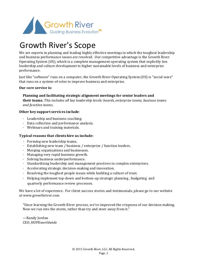 Growth	  Rivers	  ScopeWe	  are	  experts	  in	  planning	  and	  leading	  highly	  effective	  meetings	  in	  which	  t...