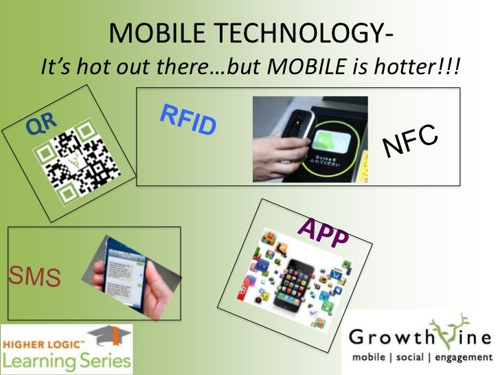 MOBILE TECHNOLOGY-It's hot out there…but MOBILE is hotter!!!<br />RFID<br />QR<br />NFC<br />APP<br />SMS<br />