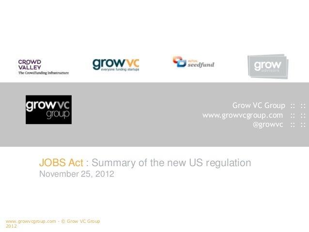 Grow VC Group US regulation