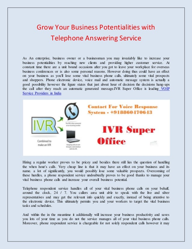 Telephone answering service business plan