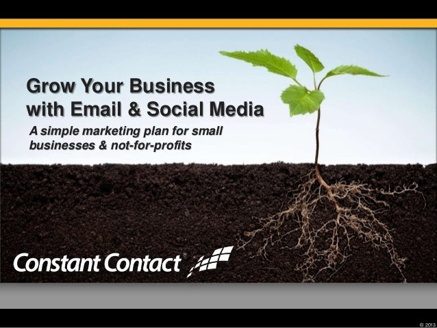 © 2013 Grow Your Business with Email & Social Media A simple marketing plan for small businesses & not-for-profits