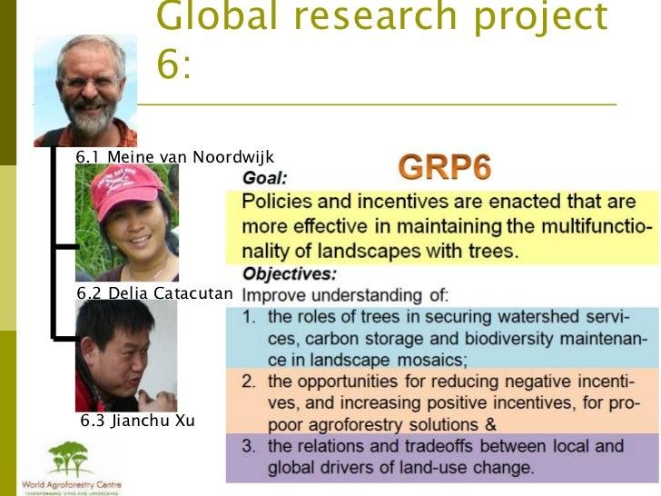 Global research project         6:6.1 Meine van Noordwijk6.2 Delia Catacutan6.3 Jianchu Xu