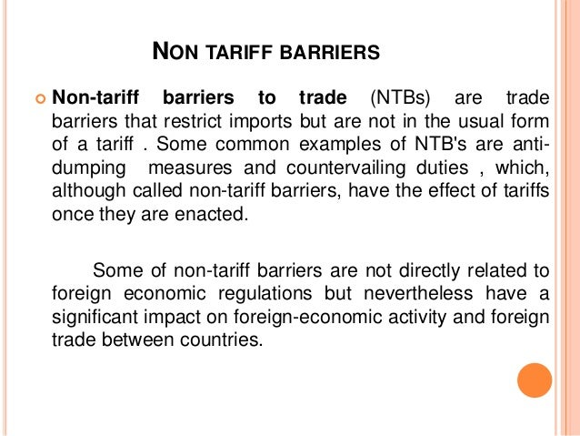 how tariff and nontariff barriers is used in global financing operations
