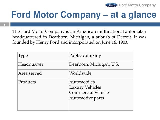 strategic leadership in ford motor company This case analysis is made on ford motor company, presented below are key success factors that a global automotive.
