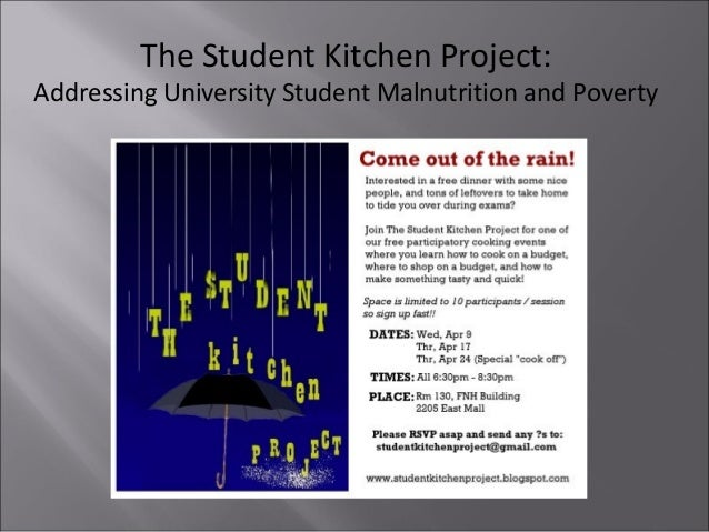 The Student Kitchen Project: Addressing University Student Malnutrition and Poverty