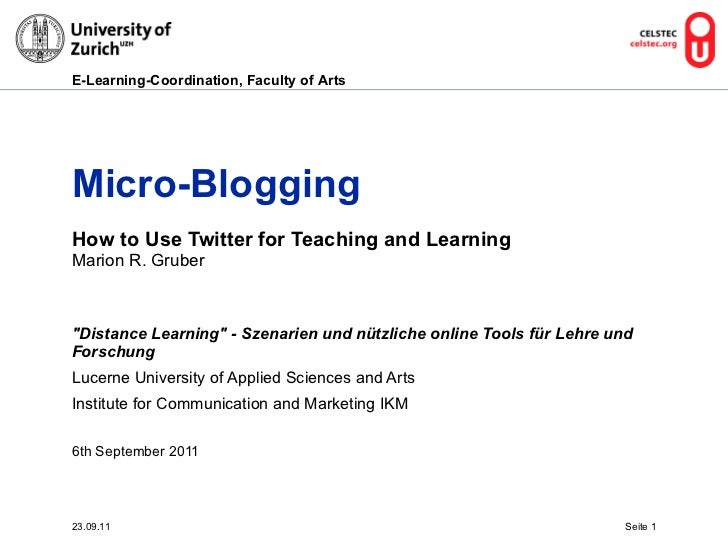 """Micro-Blogging How to Use Twitter for Teaching and Learning   Marion R. Gruber """"Distance Learning"""" - Szenarien u..."""