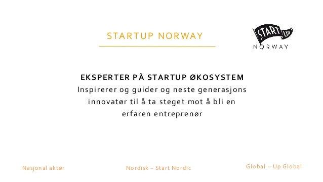 STARTUP NORWAY EKSPERTER PÅ STARTUP ØKOSYSTEM Inspirerer og guider og neste generasjons innovatør til å ta steget mot å bl...