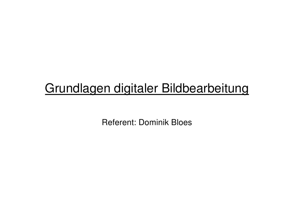 Grundlagen digitaler bildbearbeitung dominik bloes