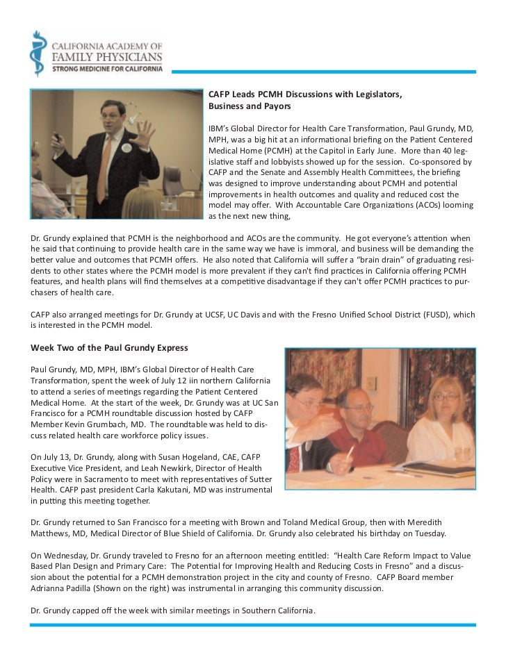 CAFP Leads PCMH Discussions with Legislators,                                                Business and Payors          ...