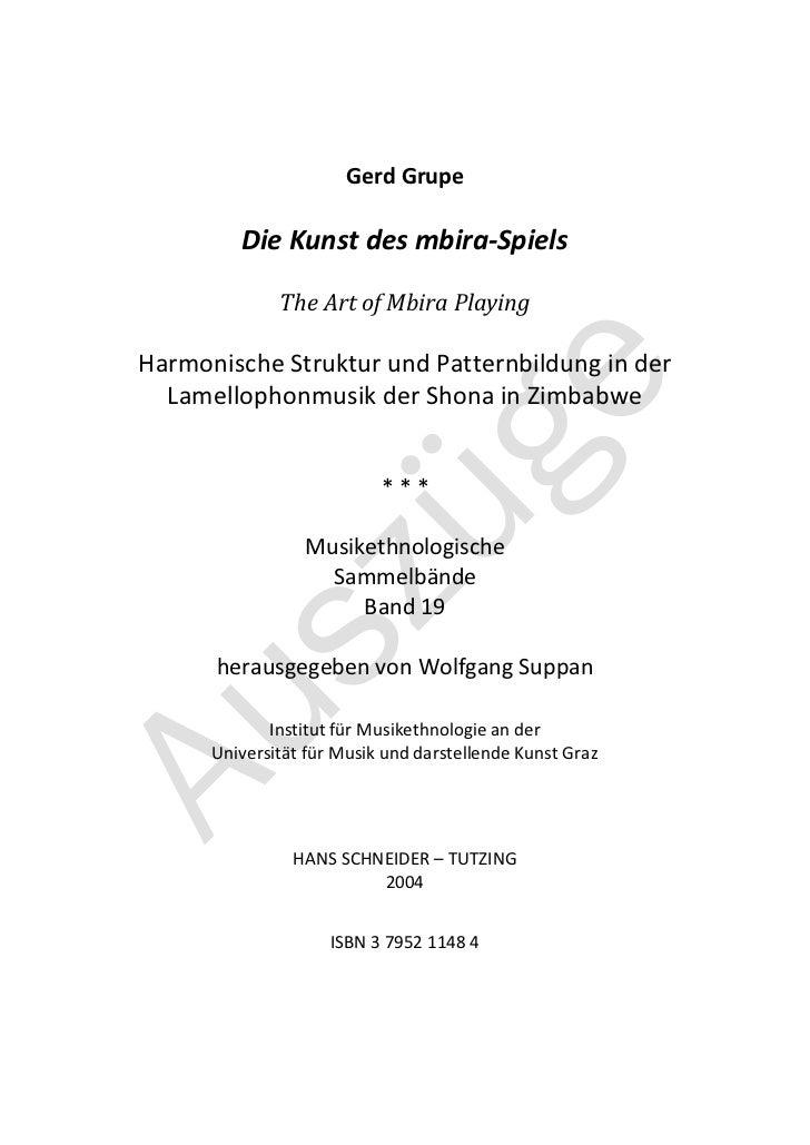 Gerd Grupe         Die Kunst des mbira-Spiels              The Art of Mbira PlayingHarmonische Struktur und Patternbildung...