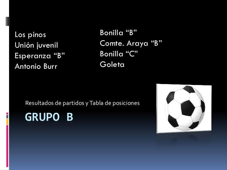 "Los pinos                     Bonilla ""B"" Unión juvenil                 Comte. Araya ""B"" Esperanza ""B""                 Bon..."