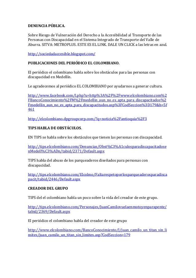 DENUNCIA PÚBLICA.    Sobre Riesgo de Vulneración del Derecho a la Accesibilidad al Transporte de las  Pers...