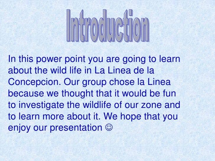 In this power point you are going to learnabout the wild life in La Linea de laConcepcion. Our group chose la Lineabecause...