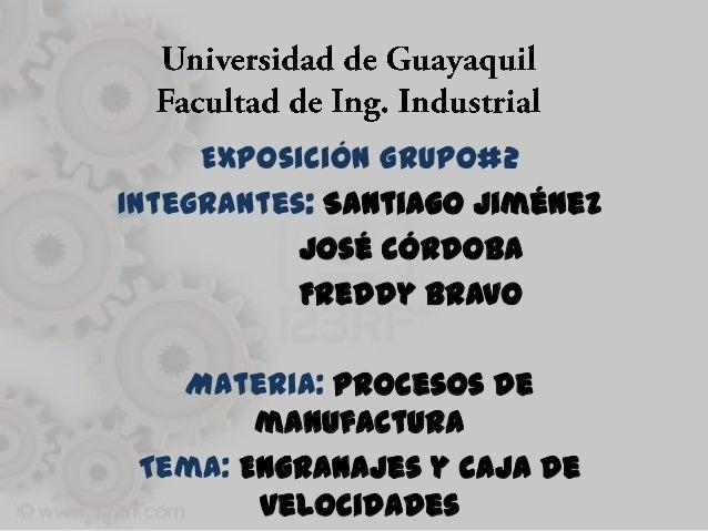Exposición Grupo#2Integrantes: Santiago Jiménez           José córdoba           Freddy Bravo   Materia: Procesos de      ...