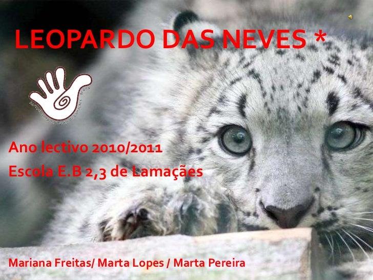 Leopardo das neves *<br />Ano lectivo 2010/2011 <br />Escola E.B 2,3 de Lamaçães <br />Mariana Freitas/ Marta Lopes / Mart...