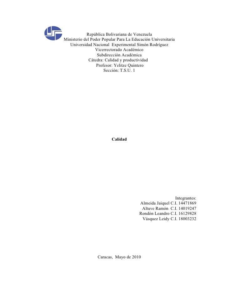 República Bolivariana de Venezuela Ministerio del Poder Popular Para La Educación Universitaria    Universidad Nacional Ex...