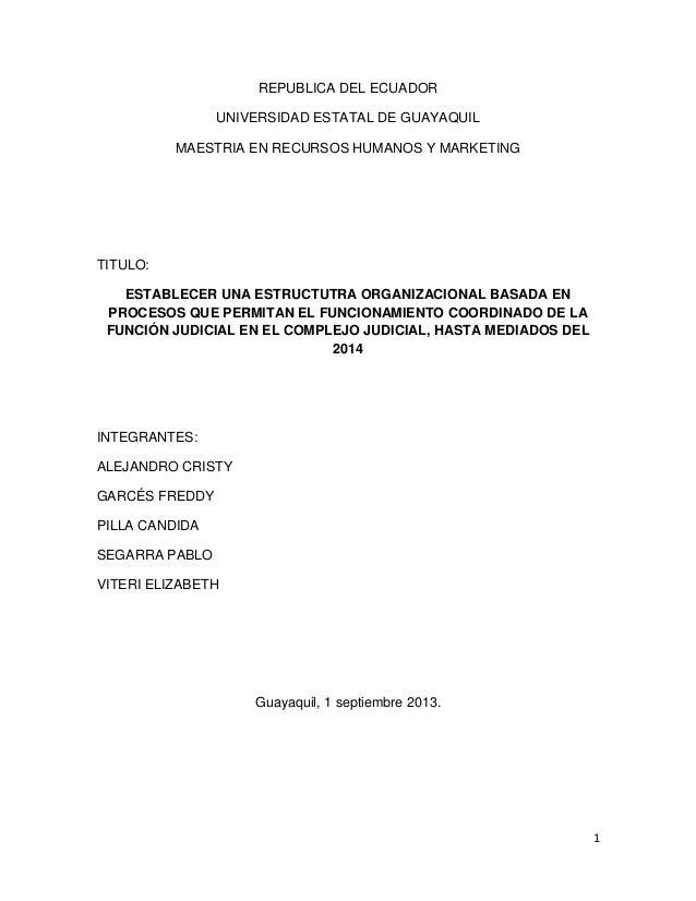 REPUBLICA DEL ECUADOR UNIVERSIDAD ESTATAL DE GUAYAQUIL MAESTRIA EN RECURSOS HUMANOS Y MARKETING  TITULO: ESTABLECER UNA ES...