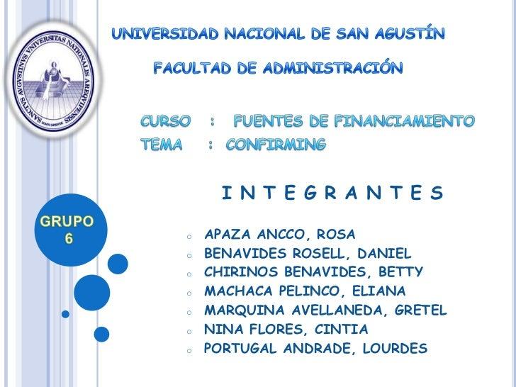 I N T E G R A N T E So   APAZA ANCCO, ROSAo   BENAVIDES ROSELL, DANIELo   CHIRINOS BENAVIDES, BETTYo   MACHACA PELINCO, EL...