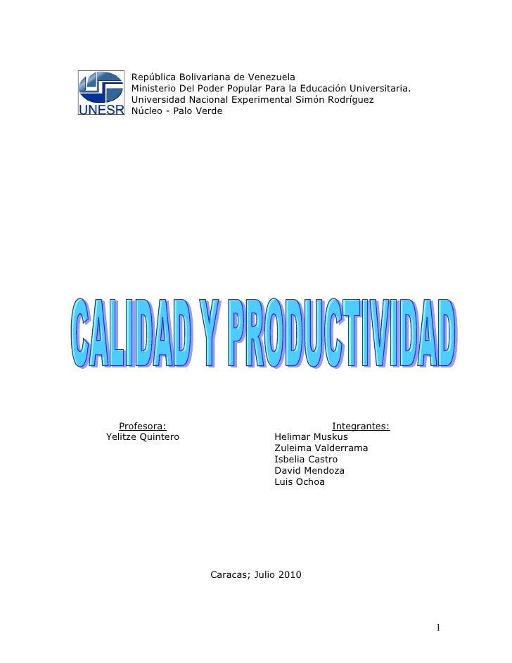 Grupo 9 calidad y productividad