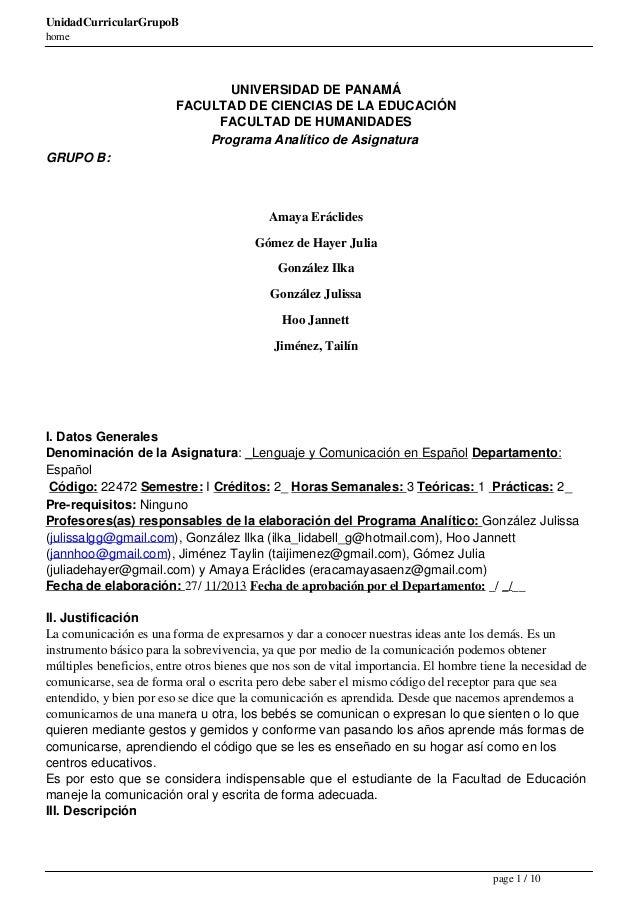 UnidadCurricularGrupoB home  UNIVERSIDAD DE PANAMÁ FACULTAD DE CIENCIAS DE LA EDUCACIÓN FACULTAD DE HUMANIDADES Programa A...