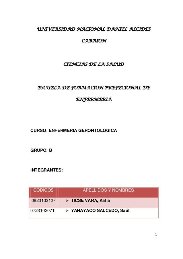 UNIVERSIDAD NACIONAL DANIEL ALCIDES CARRION  CIENCIAS DE LA SALUD  ESCUELA DE FORMACION PREFECIONAL DE ENFERMERIA  CURSO: ...