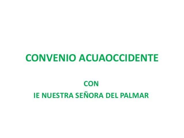 CONVENIO ACUAOCCIDENTE CON IE NUESTRA SEÑORA DEL PALMAR