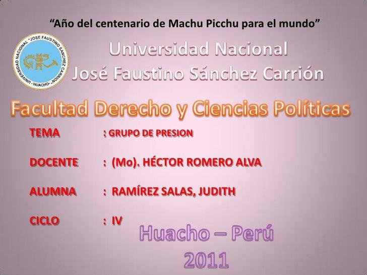 """""""Año del centenario de Machu Picchu para el mundo""""<br />Universidad Nacional<br />José Faustino Sánchez Carrión<br />Facul..."""