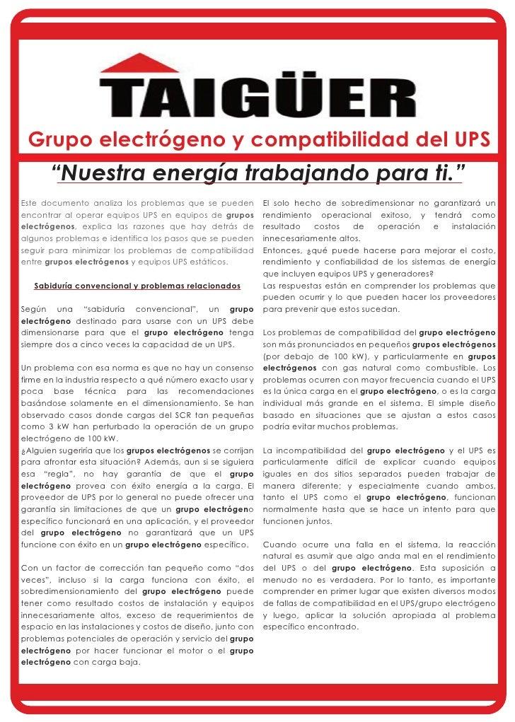"""Grupo electrógeno y compatibilidad del UPS       """"Nuestra energía trabajando para ti.""""Este documento analiza los problemas..."""