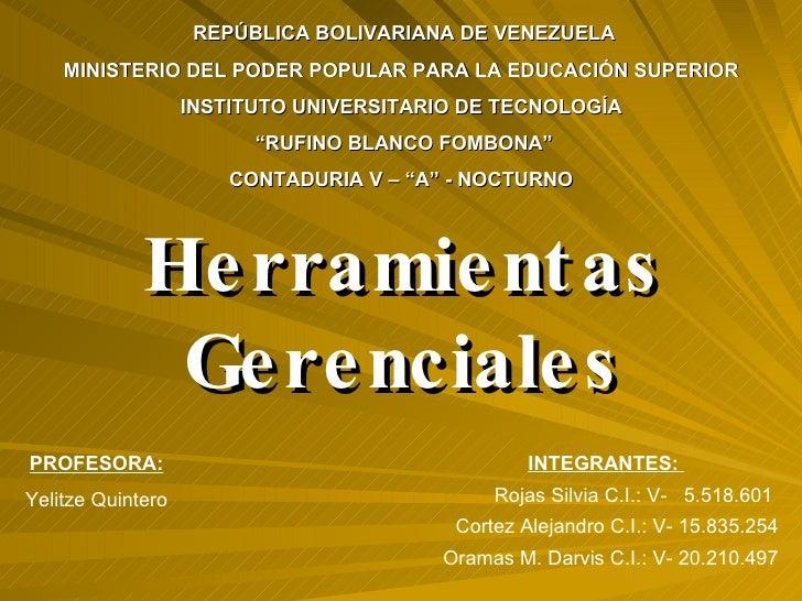 REPÚBLICA BOLIVARIANA DE VENEZUELA MINISTERIO DEL PODER POPULAR PARA LA EDUCACIÓN SUPERIOR  INSTITUTO UNIVERSITARIO DE TEC...