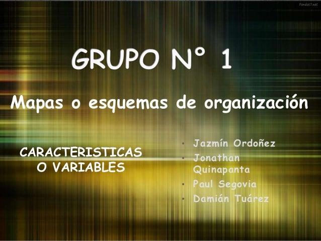 • Jazmín Ordoñez • Jonathan Quinapanta • Paul Segovia • Damián Tuárez Mapas o esquemas de organización CARACTERISTICAS O V...