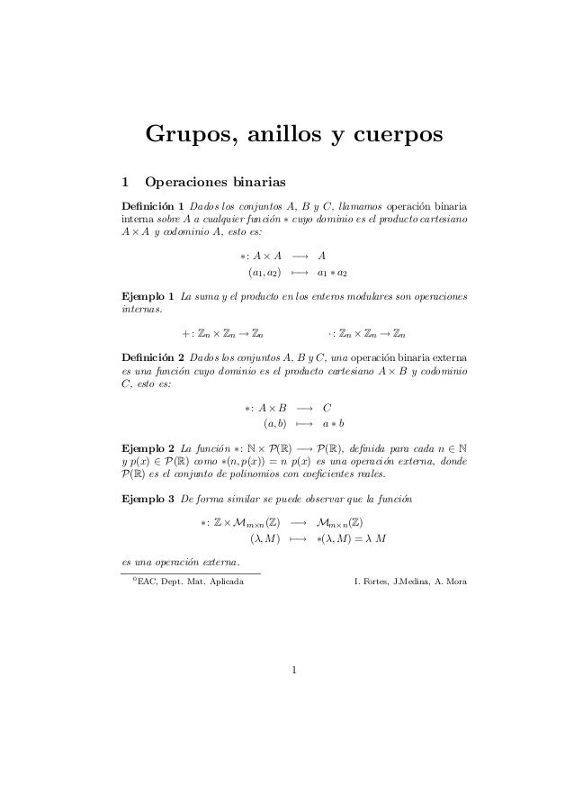 Grupos, anillos y cuerpos1 Operaciones binariasDe¯nici¶on 1 Dados los conjuntos A, B y C, llamamos operaci¶on binariainter...