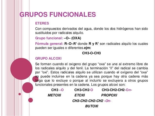 GRUPOS FUNCIONALES ETERES Con compuestos derivados del agua, donde los dos hidrógenos han sido sustituidos por radicales a...