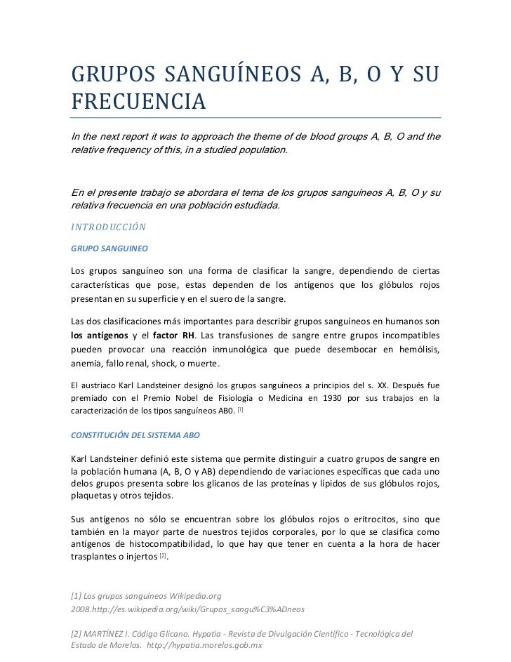 GRUPOS SANGUÍNEOS A, B, O Y SUFRECUENCIAIn the next report it was to approach the theme of de blood groups A, B, O and the...
