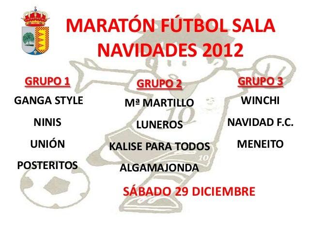 MARATÓN FÚTBOL SALA             NAVIDADES 2012 GRUPO 1          GRUPO 2          GRUPO 3GANGA STYLE     Mª MARTILLO       ...