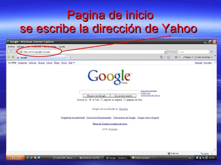 Pagina de inicio se escribe la dirección de Yahoo