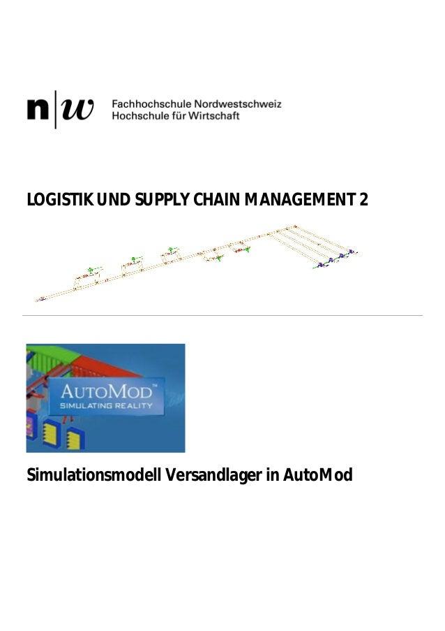 LOGISTIK UND SUPPLY CHAIN MANAGEMENT 2  Simulationsmodell Versandlager in AutoMod