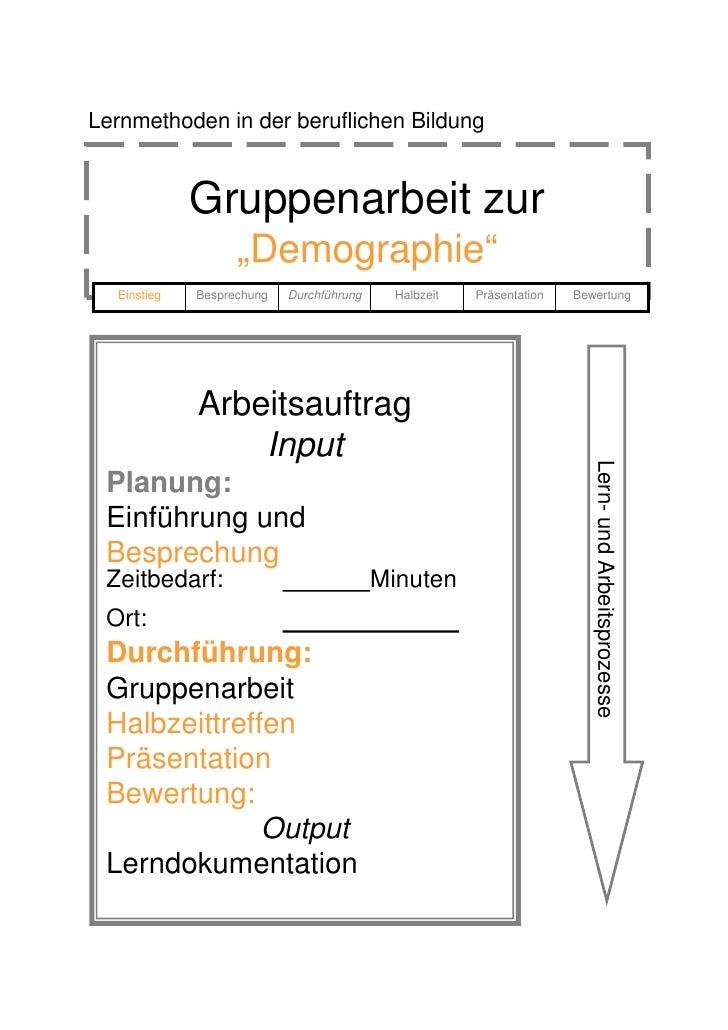 """Lernmethoden in der beruflichen Bildung                Gruppenarbeit zur                    """"Demographie""""   Einstieg   Bes..."""